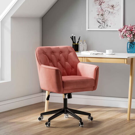 Velvet Buttoned Adjustable Swivel Office Chair