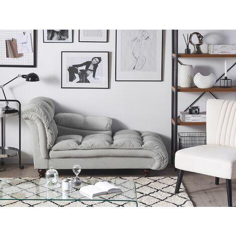 Velvet Chaise Lounge Grey LORMONT