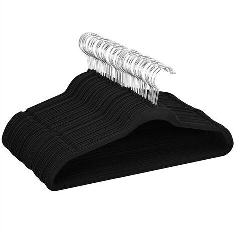 Velvet Coat Hangers, 100 Pack, 45cm Standard Non-Slip 360¡ã Swivel Hook Black