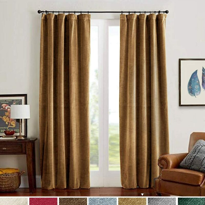 Velvet Curtains Room Darkening Blackout Curtains Thermal Insulated Super Soft Luxury Drapes for Bedroom Rod Pocket Window Curtain for Living Room 2