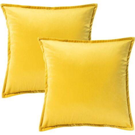 Velvet Decorative Cushion Cover for Sofa and Bed, 2 Pcs Yellow, Pillow Pillow Cushion Covers Home Decor 45 x 45 cm