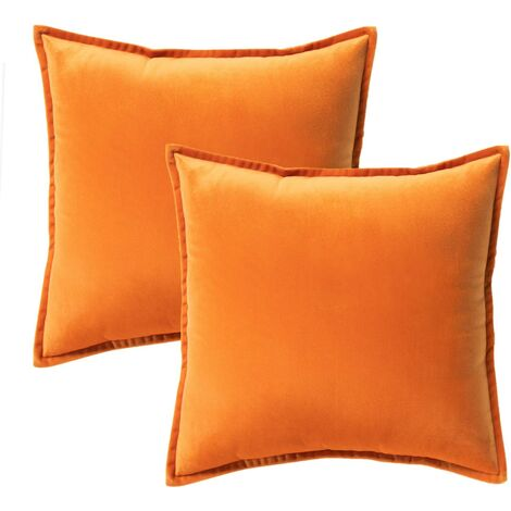 Velvet Decorative Cushion Cover for Sofa and Bed, 2pcs Orange, Pillow Pillow Cushion Covers Home Decor 45 x 45 cm