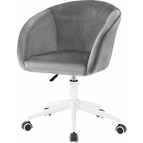 Velvet Desk Chair Office Chair with Arms Grey