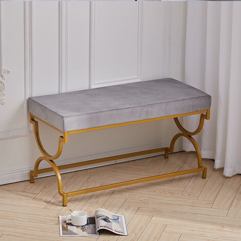 Velvet Dining Bench Ottoman Chair with Metal Legs