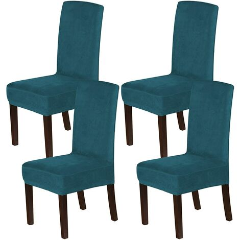 """main image of """"Velvet Dining Chair Covers Stretch Chair Covers for Dining Room Set of 4 Parson Chair Slipcovers Chair Protectors Covers Dining, Soft Thick Solid Velvet Fabric Washable, Deep water blue"""""""