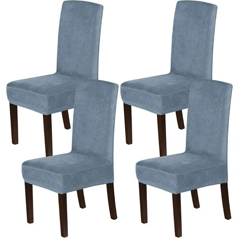 """main image of """"Velvet Dining Chair Covers Stretch Chair Covers for Dining Room Set of 4 Parson Chair Slipcovers Chair Protectors Covers Dining, Soft Thick Solid Velvet Fabric Washable,Gray blue"""""""