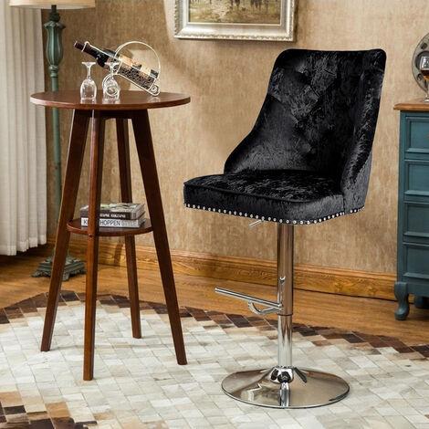 Velvet Dining Chairs Kitchen Dinner Breakfast Bar Table Stool Black