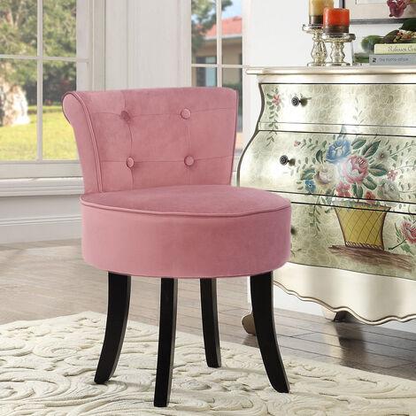 Velvet Dressing Table Chair Vanity Makeup Stool Padded Footstool Bedroom Chair