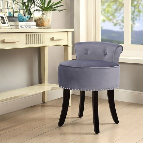 Velvet Dressing Table Chair Vanity Stool Piano Dining Chairs Bedroom Room Grey