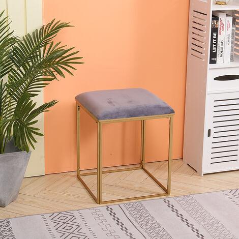 Velvet Dressing Table Stool Chair Pouffe Golden Metal Legs Bedroom Seat Square