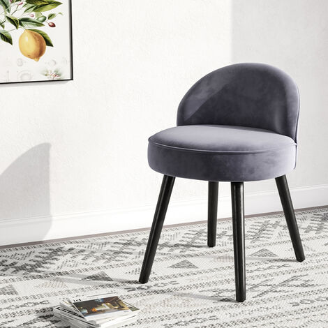 Velvet Dressing Table Stool Footstool Makeup Seat Vanity Chair Light Grey