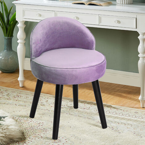 Velvet Dressing Table Stool Vanity Bedroom Chair Upholstered Backed Chairs Purple