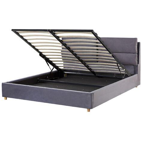 Velvet EU King Size Bed Frame 5ft3 Grey Slatted Base with Storage Batilly