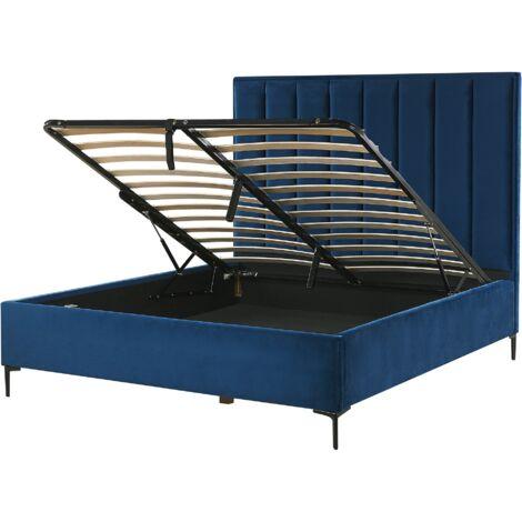 Velvet EU King Size Bed Frame 5ft3 Navy Blue Ottoman Storage Sezanne