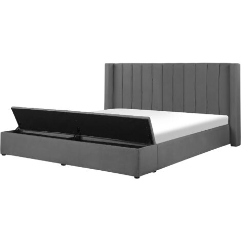 Velvet EU Super King Size Bed Frame Tufted 6ft Storage Bench Grey Noyers
