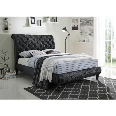 """Velvet Fabric Black Bed Frame - Double 4ft 6"""""""