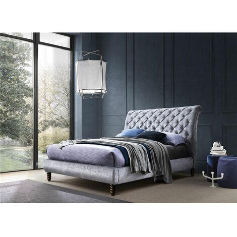 Velvet Fabric Grey Bed Frame - King 5ft