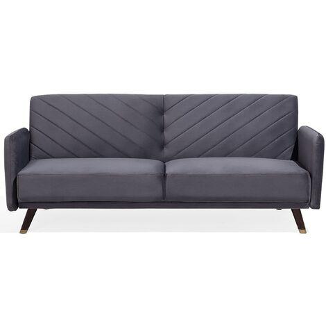 Velvet Fabric Sofa Bed Grey SENJA