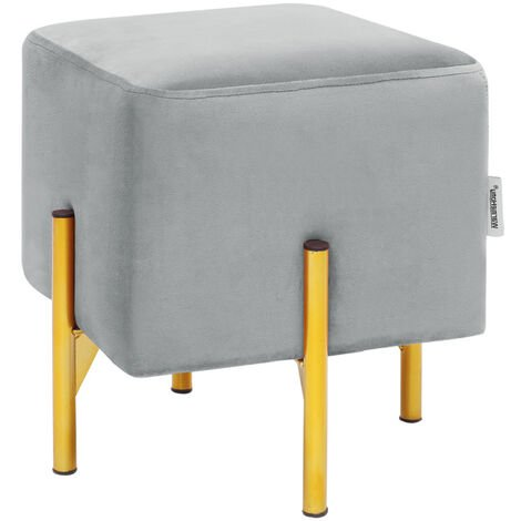 Velvet Fluffy Footstool Pouffe Vanity Dressing Table Stool Gold Legs Grey
