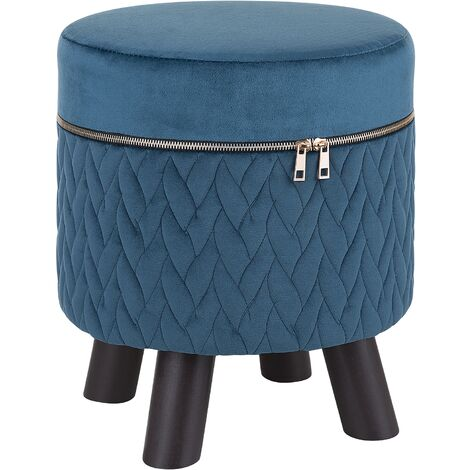 Velvet Footstool Dark Blue APPIE