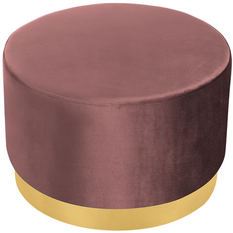 Velvet Footstool Ottoman Footrest Stool Round Box Dressing Table, Pink