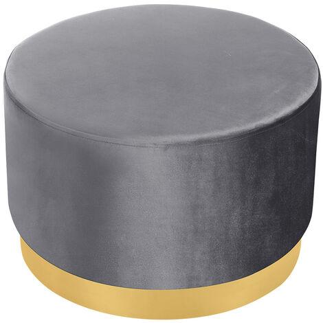 Velvet Footstool Ottoman Footrest Stool Round Box Dressing Table, Purple