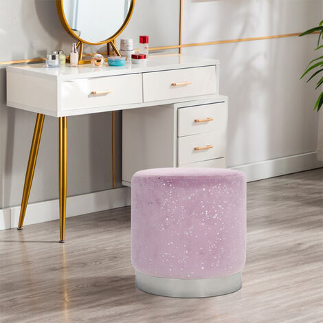 Velvet Footstool Ottoman Soft Stool Vanity Chair Living Room Seat Purple