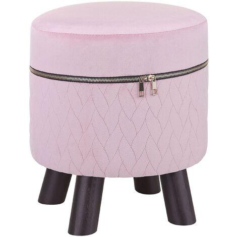 Velvet Footstool Pink APPIE