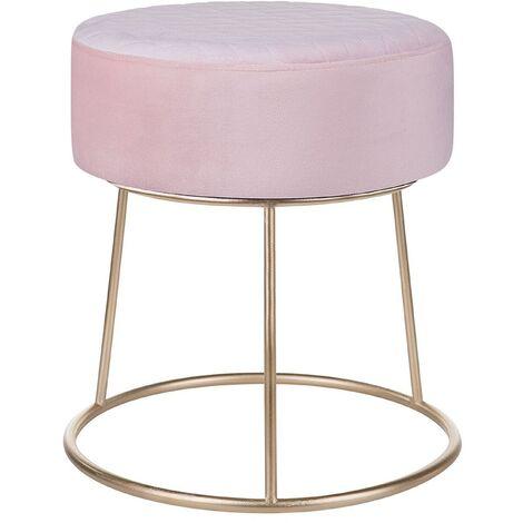 Velvet Footstool Pink DELCO