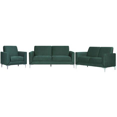 Velvet Living Room Set Green FENES