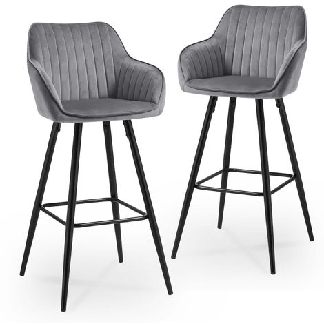 VELVET - Lot de 2 tabourets de bar en velours gris