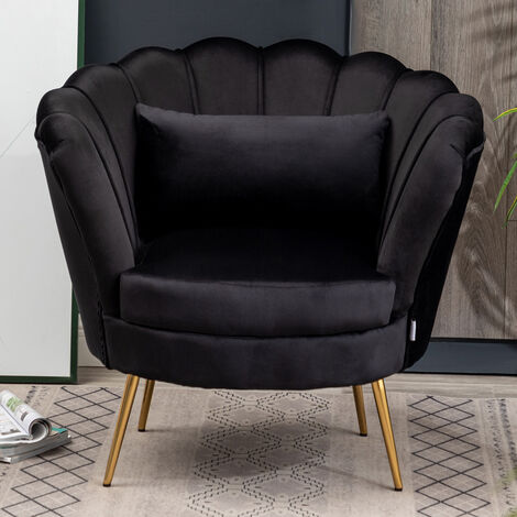 Velvet Lotus Scallop Tub Chair With Cushion