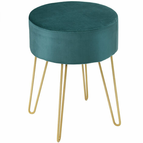 """main image of """"Velvet Modern Round Footstool Ottoman Footrest Makeup Dressing Chair Seat Home"""""""