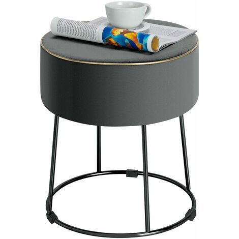 "main image of ""Velvet Modern Round Footstool Ottoman Makeup Dressing Chair Seat W/ Footpads"""