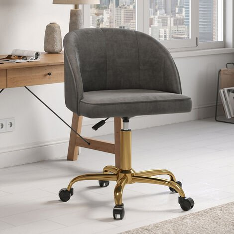 Velvet Office Chair Gas Lift Swivel Executive Computer Seat with Caster