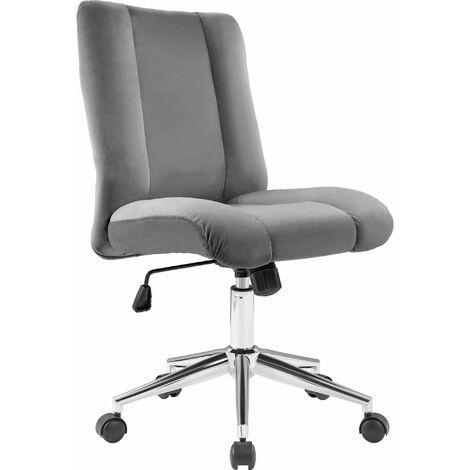 Velvet Office Chair Swivel Chair Desk Chair Luxurious Cushion for Home Office, Grey