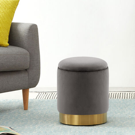 Velvet Ottoman Storage Stool Footstool Dressing Table Chair Grey 36x36x45cm