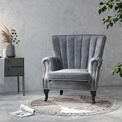 Velvet Pleated Wingback Armchair