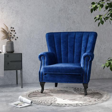 "main image of ""Velvet Pleated Wingback Armchair"""