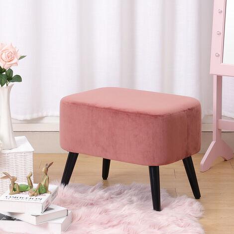 Velvet Poffee Foot Stool Ottoman Cube Taburete Stool Chair with Wooden Legs