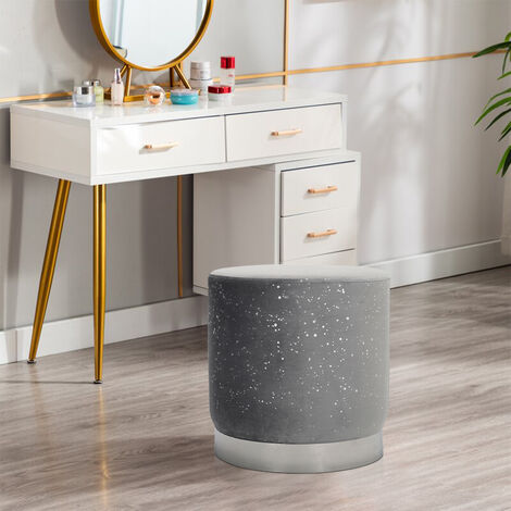Velvet Pouffe Foot Stool Chair Round Seat Grey