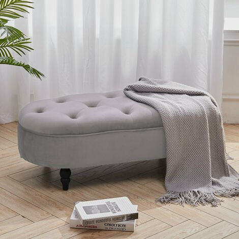 Velvet Rectangle Buttoned Footstool With 4 Wood Legs