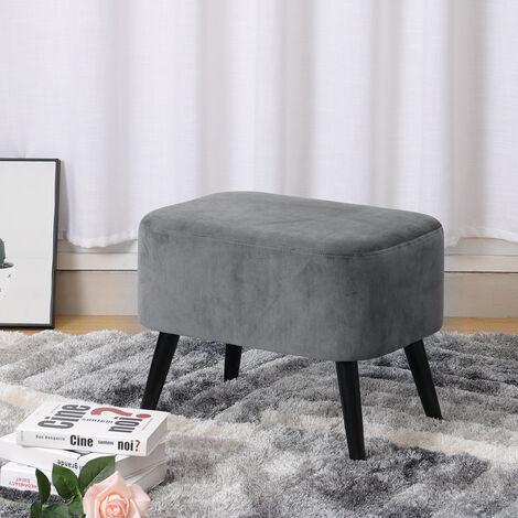 Velvet Rest Stool Footstool Chair Ottoman Rest Padded Wooden Leg Stool Grey