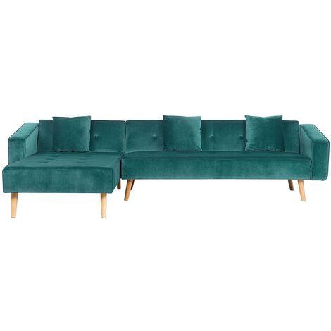 Velvet Right Hand Corner Sofa Bed Green Buttoned Sleeper Vadso