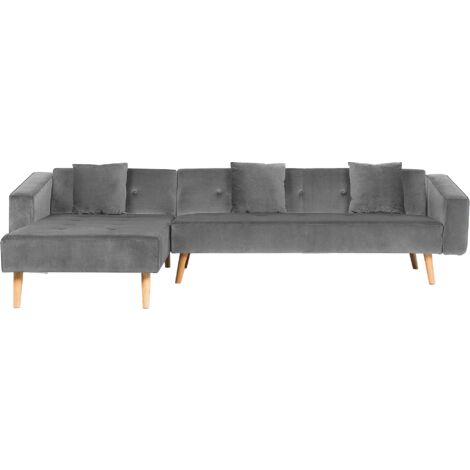 Velvet Right Hand Corner Sofa Bed Grey Buttoned Sleeper Vadso
