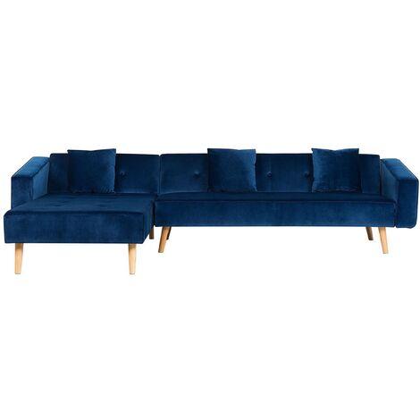 Velvet Right Hand Corner Sofa Bed Navy Blue Buttoned Sleeper Vadso