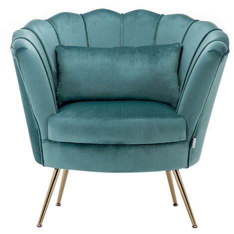 Velvet Scalloped Accent Tub Chair With Cushion