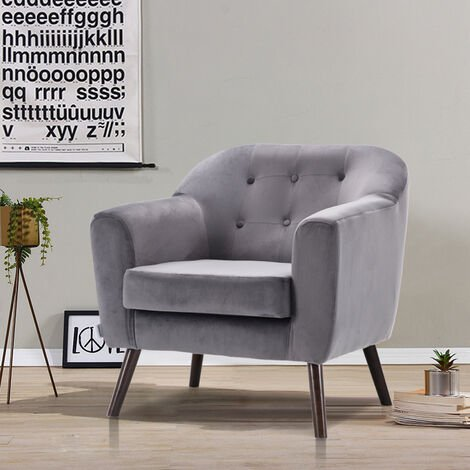 Velvet Seat Sofa Buttoned Tub Accent Chair