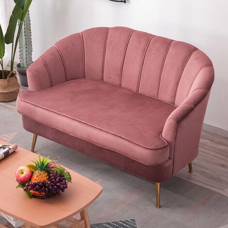 Velvet Shell 2 Seater Sofa With Cushion