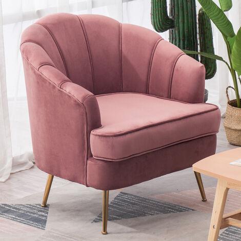 Velvet Shell Tub Chair With Cushion